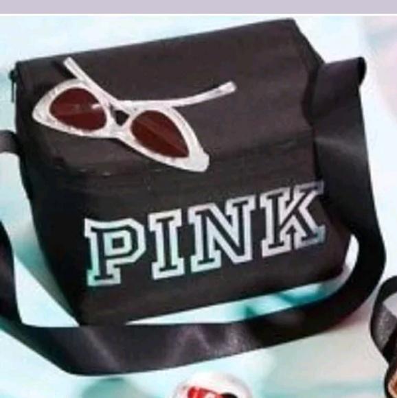 74faf2153e922 NW Victoria secret pink mini cooler & coozie black NWT